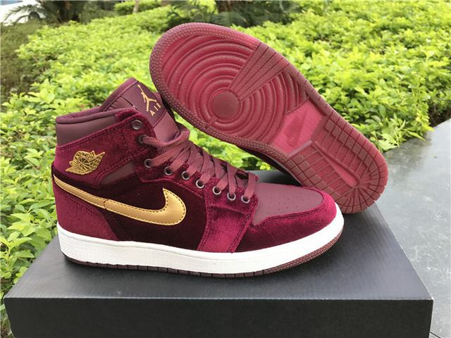 "Authentic Air Jordan 1 GS ""Night Maroon"""