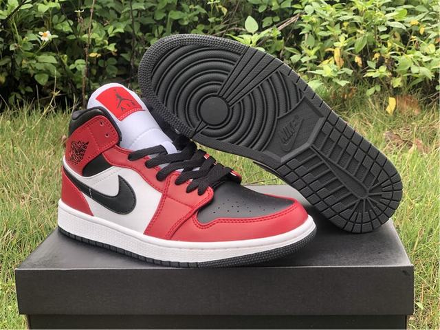 "Authentic Air Jordan 1 Mid ""Chicago Black Toe"""