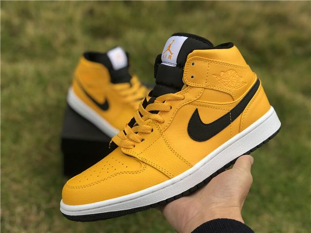 Authentic Air Jordan 1 Mid Black Yellow
