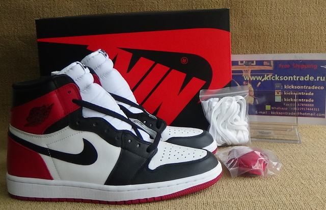"Authentic Air Jordan 1 OG Retro High ""Black Toe"" 2016"