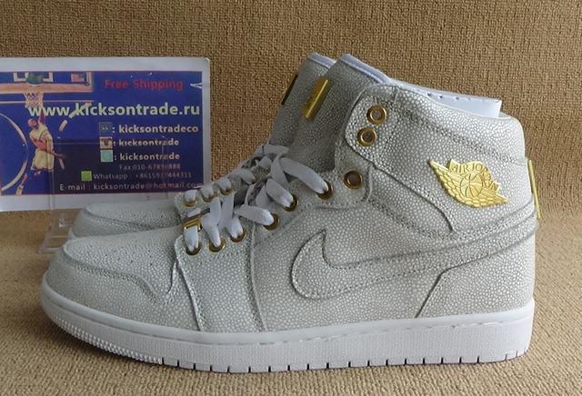 Authentic Air Jordan 1 White&Metallic Gold