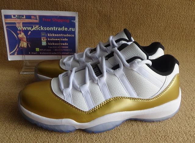 "Authentic Air Jordan 11 Low ""Metallic Gold"""