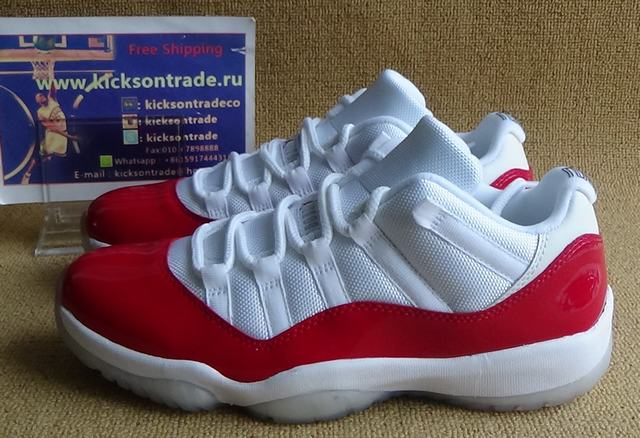 Authentic Air Jordan 11 Low White&Red