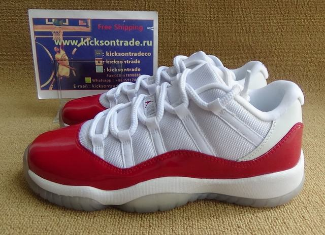 Authentic Air Jordan 11 Low White&Red GS