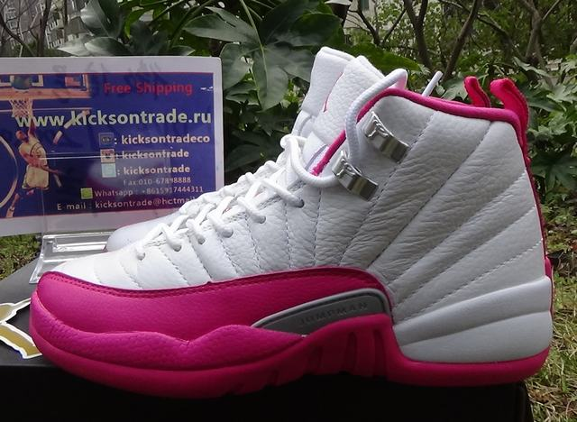 "Authentic Air Jordan 12 GS ""Dynamic Pink"""