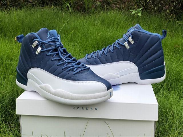 Authentic Air Jordan 12 Stone Blue