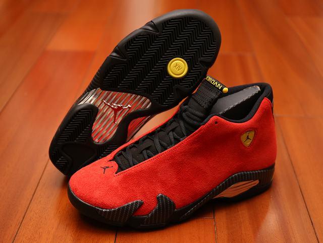 Authentic Air Jordan 14 Ferrari Red Suede