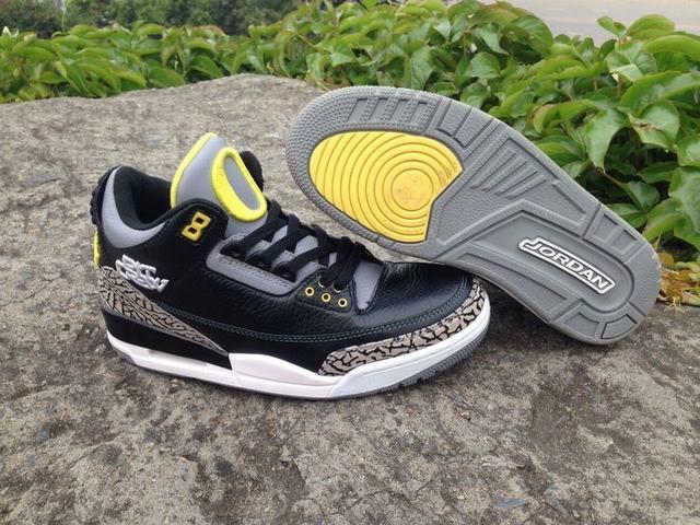 Authentic Air Jordan 3 Black Oregon Ducks
