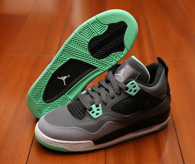 Authentic Air Jordan 4 Green Glow GS