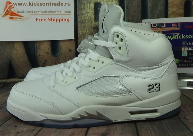 "Authentic Air Jordan 5 ""White&Metallic Silver"""