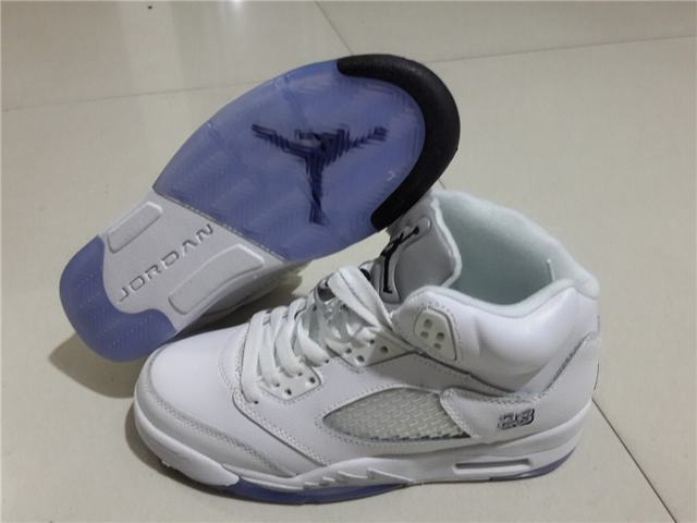"Authentic Air Jordan 5 GS""White&Metallic Silver"""