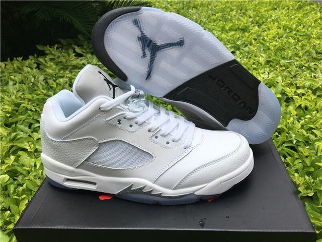 "Authentic Air Jordan 5 Low  ""White&Metallic Silver"""