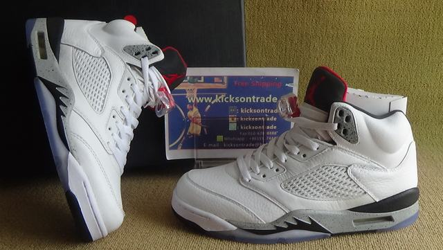 """Authentic Air Jordan 5 Retro """"White Cement"""""""