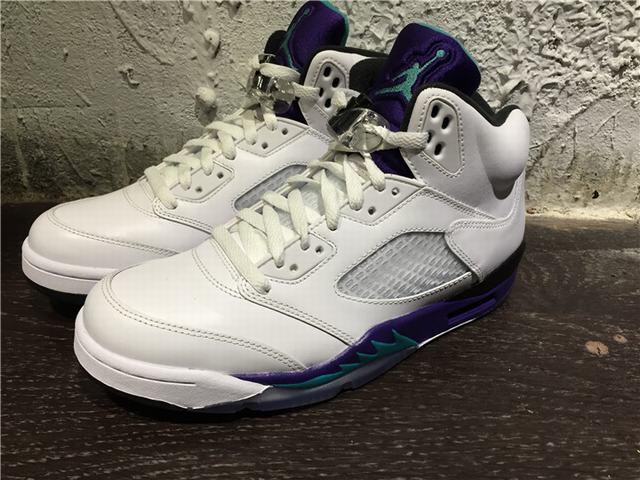 Authentic Air Jordan 5 White Grape