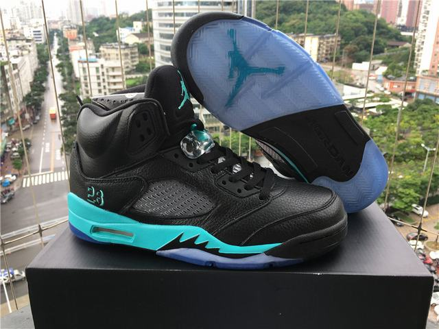 Authentic Air Jordan 5 black Jade