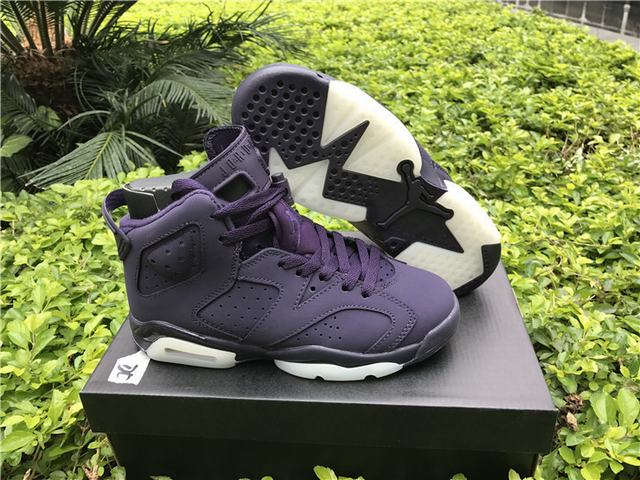 Authentic Air Jordan 6 GS Dark Purple Suede