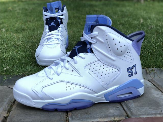 Authentic Air Jordan 6 UNC Championship PE White