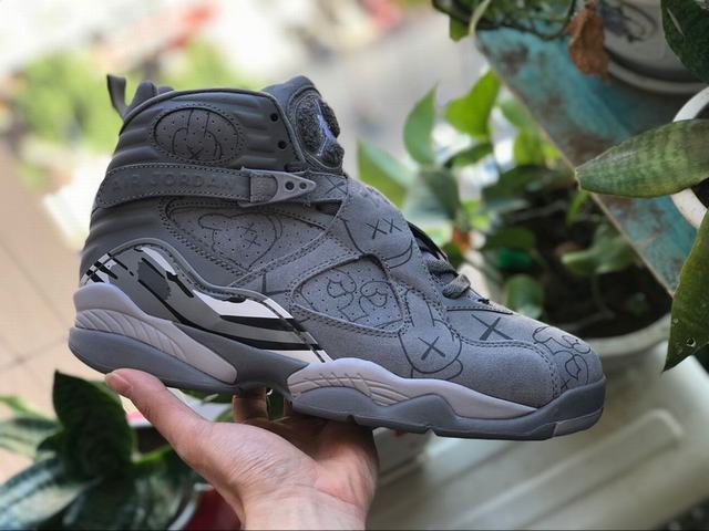 "Authentic Air Jordan 8 Kaws ""Cool Grey"""