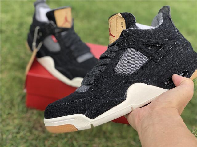 Authentic Levi's x Air Jordan 4 Black