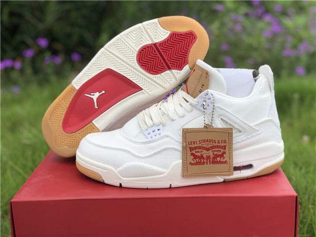 Authentic Levi's x Air Jordan 4 White
