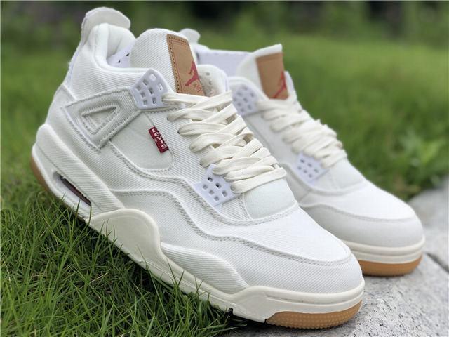 the best attitude 758ea 3126d Authentic Levi's x Air Jordan 4 White on sale,for Cheap ...