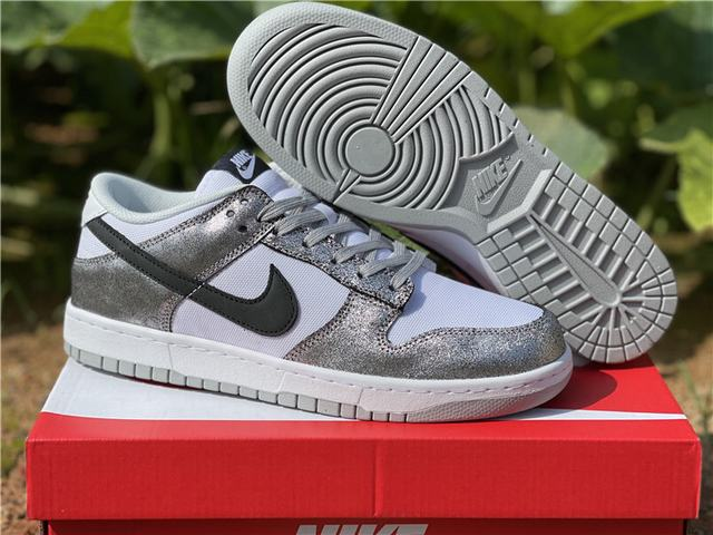 Authentic Nike Dunk Low white silver