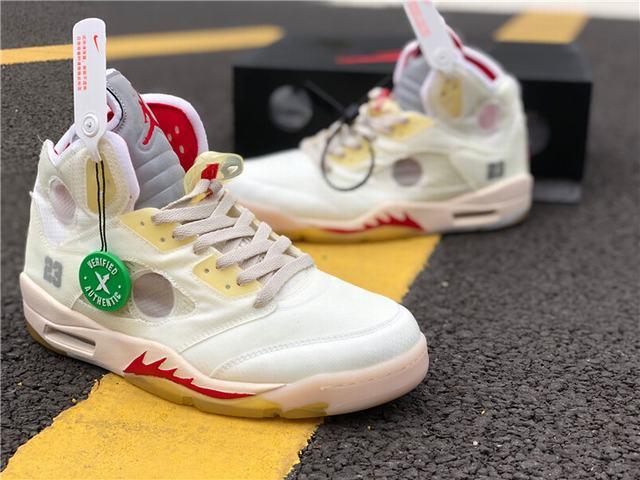 """Authentic OFF-WHITE x Air Jordan 5 """"Sail"""""""