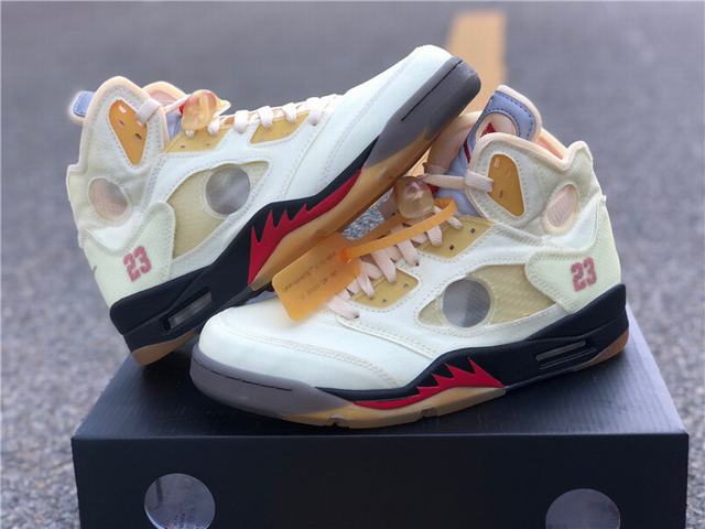 Authentic Off White x Air Jordan 5 Sail