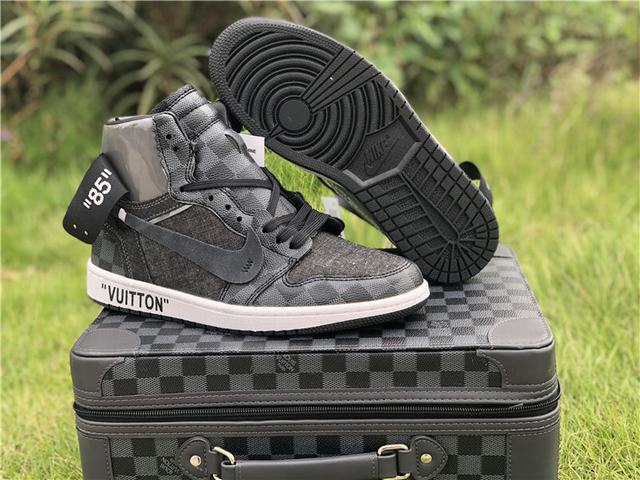 Authentic Off White X LV x Air Jordan 1 Black