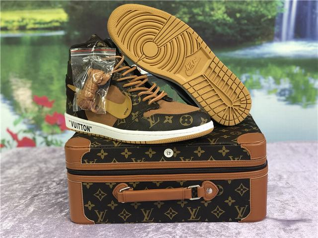 Authentic Off White X LV x Air Jordan 1 Brown