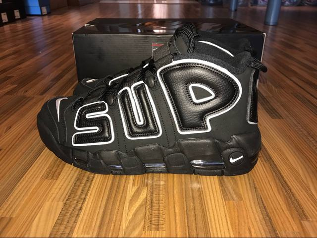 Authentic Supreme x Nike Air More Uptempo Black