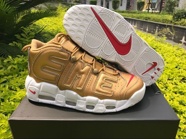Authentic Supreme x Nike Air More Uptempo Gold