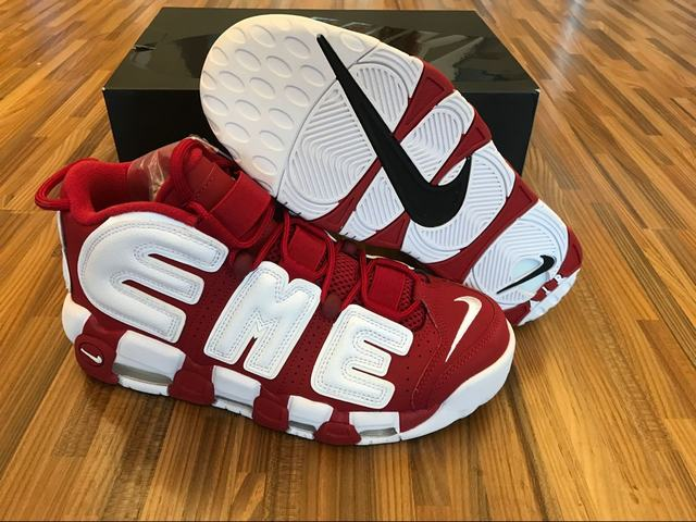 Authentic Supreme x Nike Air More Uptempo Red