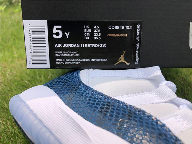 "Authentic Air Jordan 11 Low ""Navy Blue Snakeskin"" GS"