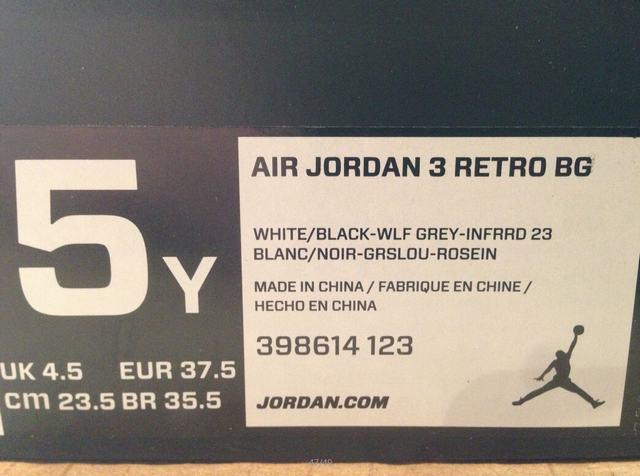 Authentic Air Jordan 3 White Cement GS