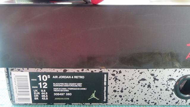 Authentic Air Jordan 4 Bred  2019