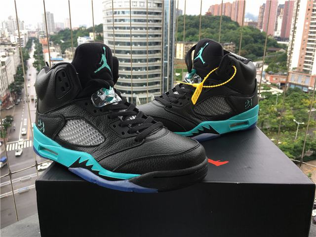Authentic Air Jordan 5 black Jade