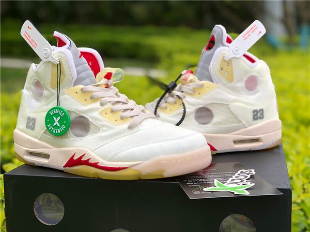 "Authentic OFF-WHITE x Air Jordan 5 ""Sail"""